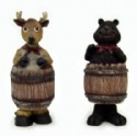 Bear And Deer Barrel Bobble Figurine