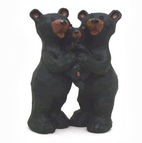 Black Bear Couple Holding Cub Figurine