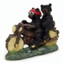 Black Bear Couple On Motorcycle Figurine
