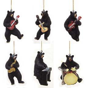 Black Bear Band Ornaments