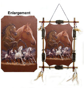 Horse Scene With Wood Frame