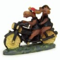 Moose Couple On Motorcycle Figurine