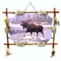 Moose Scene With Wood Frame