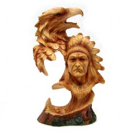 Native American With Eagle Figurine