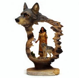 Native American Maiden And Wolf Figurine
