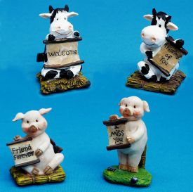 Pig And Cow Figurines
