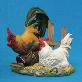 Rooster With Hen Figurine