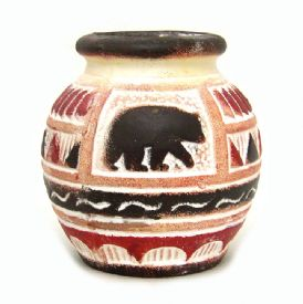 Ceramic Vase With Bear Scene