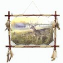 Deer Scene With Wood Frame